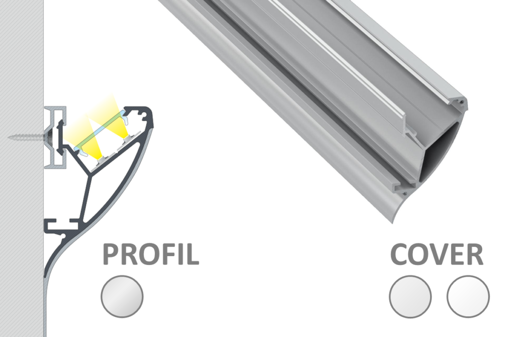 Aluprofil indirekte Beleuchtung CONVA