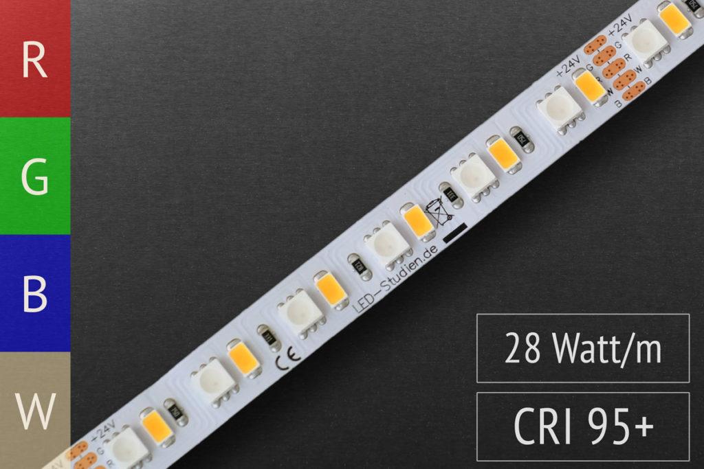 RGB+W LED-Streifen mit hellem Weiß